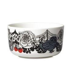 Veljekset Bowl: To celebrate the 100-year-old Finland, Marimekko launched a pattern entitled Veljekset (brothers) created by Maija Louekari, one of Marimekko's younger generation print designers. The design was inspired by Finnish folk tales and it depicts wildlife inhabiting the forests of our exotic northern country.    This bowl is decorated with a white, black and blue Veljekset pattern. The bowl is made of dishwasher, oven, microwave and freezer proof white stoneware.