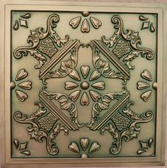 "Single 24""x24"" Highlight Ceiling Tile, Patina Copper, glue up, $10"