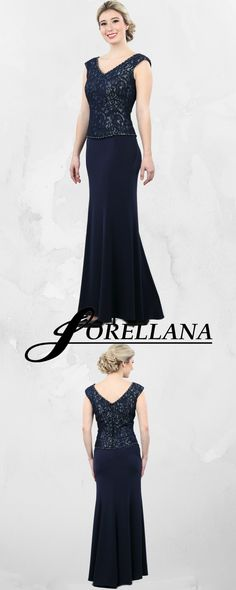 Lorellana Couture Inc. Enhance your style in this upscale evening gown. This contrasting curve-defining capped sleeve lace bodice with slate colored underlay features a beaded V-neckline, V-back and hemline framing a feminine silhouette Style Mother Of The Bride Gown, Bride Gowns, Lace Bodice, Slate, Evening Gowns, Hemline, Your Style, Bodycon Dress