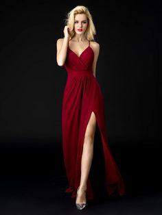 V Neck Spaghetti Strap A Line Burgundy Backless Prom Dress Materity Formal Dress M2963