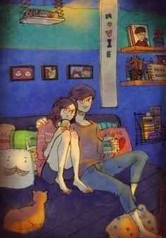 Korean artist puuung draws the cutest love illustrations Paar Illustration, Couple Illustration, Travel Illustration, Puuung Love Is, Art Hipster, Art Amour, Sketch Manga, Cute Love Couple, Art Anime