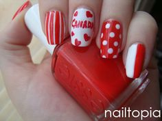 Check out these 10 Canada flag nails art designs & ideas of Nail Polish Designs, Nail Art Designs, Love Nails, Pretty Nails, Country Nail Art, Sculpted Gel Nails, Flag Nails, Nails 2017, Holiday Nails