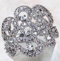 Gorgeous, Alluring White Topaz Swirl Ring~Solid 925 SS~SZ. 6! Gorgeous Heirloom Ring!
