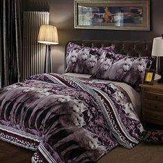 4830e75492 HUANZI Polyester Duvet Cover Print Pattern Three-Piece Cover Including 2  Pillow Cases and 1 Quilt Cover - Purple, 220240