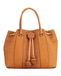 Amalfi+Woven+Drawstring+Tote+Bag,+Peanut+by+Tory+Burch+at+Neiman+Marcus.