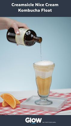 Get your healthy dose of probiotics from this orange creamsicle nice cream kombucha float!