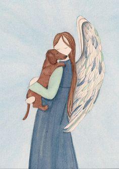 Brown shorthaired dachshund with Angel (profile) / Lynch signed folk art print (Weiner / Wiener Doxie)