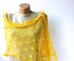 Yellow poncho  cotton summer fashion lace shawl
