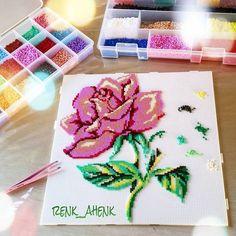Rose flower hama mini beads by renk__ahenk Pearler Bead Patterns, Bead Loom Patterns, Pearler Beads, Fuse Beads, Beading Patterns, Iron Beads, Perler Bead Art, Melting Beads, Loom Beading