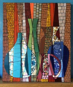 Overlapping Pots 2 by Sophie Robins Mosaics Mosaic Vase, Mosaic Wall Art, Mosaic Diy, Mosaic Crafts, Mosaic Projects, Mosaic Tiles, Mosaic Madness, Mosaic Designs, Mosaic Patterns