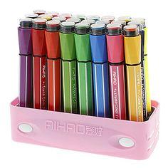 24 Colors Water Color Pens with Signet Caps Set