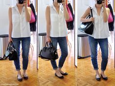 les anti-modernes* white sleeveless top, denim capris, ballet flats and a great bag