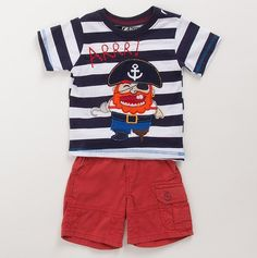 This is one of my favorites on totsy.com: Infant Boys' Striped Pirates Tee and Cargo Shor...