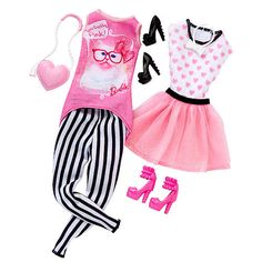 """Barbie Fashion Set - Barbie's Day Look - Pink Cat Top and White Top with Pink Hearts - Mattel - Toys """"R"""" Us"""