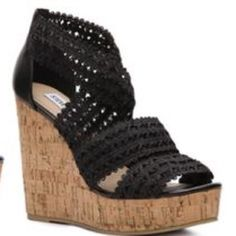 Elston Wedge by Steve Madden. Never been worn. Elston Wedge in Black by Steve Madden Steve Madden Shoes Wedges