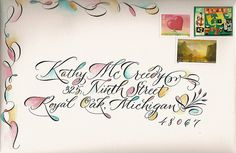 Jane Farr Envelope Play sumi and watercolor pencil Mail Art Envelopes, Addressing Envelopes, Calligraphy Envelope, Calligraphy Letters, Modern Calligraphy, Creative Lettering, Lettering Styles, Caligrafia Copperplate, Art Postal