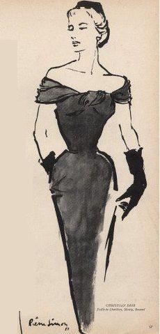 Fashion Illustration Patterns 1951 - Christian Dior cocktail dress by Pierre Simon Vintage Fashion Sketches, Vintage Vogue Fashion, Fashion Illustration Sketches, Illustration Mode, Dior Fashion, Fashion Design Sketches, Fashion Face, Design Illustrations, 1950s Fashion