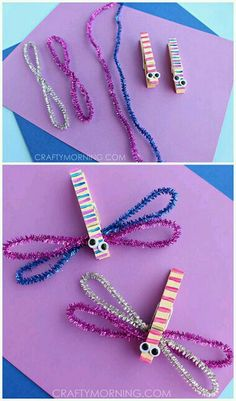 Kids crafts spring Clothespin Dragonfly crafts for kids! Use pipe cleaners for a spring art project Spring Art Projects, Spring Crafts For Kids, Summer Crafts, Projects For Kids, Diy For Kids, Craft Work For Kids, Summer Art, Garden Projects, Holiday Crafts