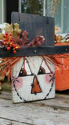 Wooden Pumpkin Crafts, Primitive Wood Crafts, Fall Wood Crafts, Autumn Crafts, Scarecrow Painting, Halloween Painting, Autumn Painting, Fall Halloween, Halloween Crafts