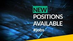 A creative job vacancy video template. A modern digital background with white text displaying 'New positions available