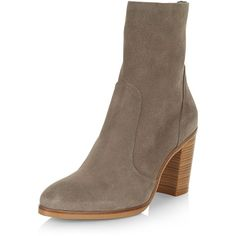 New Look Grey Premium Suede Block Heel High Ankle Boots ($80) ❤ liked on Polyvore featuring shoes, boots, ankle booties, grey, grey suede booties, gray booties, ankle high boots, grey booties and grey ankle boots