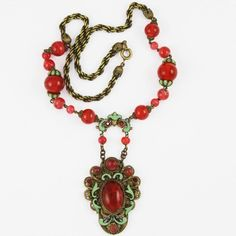 Elaborate CZECH Art Deco Glass, Gilt Filigree & Enamel Necklace Early Century