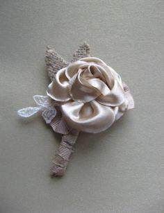 Burlap Wedding boutonniere, groom accessory, rustic woodland boutonniere, Tan Beige rose groomsmen boutonniere via Etsy