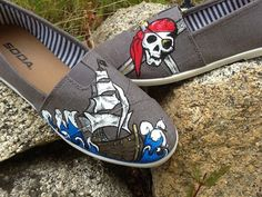 Pirate Skull and Ship shoes women's size 8 by CreativeArtFXinc, $55.00
