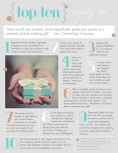Registry Tips: 10 tips to easily {and respectfully} guide your guests to a perfectly picked wedding gift.