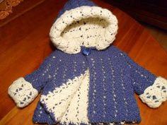 Crochet Baby Girl *Free Crochet Pattern: Reversible Hooded Baby Jacket by Esther Huhn Crochet Baby Jacket, Crochet Baby Sweaters, Crochet Baby Clothes, Baby Knitting, Crochet Girls, Love Crochet, Crochet For Kids, Knit Crochet, Crochet Crafts