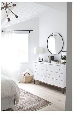 White Bedroom Design, White Bedroom Furniture, Bedroom Dressers, Home Decor Bedroom, Bedroom Ideas, Bedroom Designs, Bedroom Curtains, Bedroom Neutral, Dark Furniture