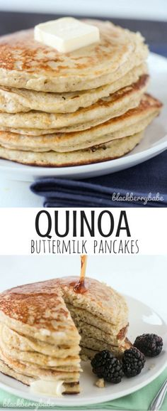 Quinoa Pancakes recipe with even more protein added from chia seeds! Love these healthier pancakes!Buttermilk Quinoa Pancakes recipe with even more protein added from chia seeds! Love these healthier pancakes! Breakfast And Brunch, Best Breakfast, Quinoa Pancakes, Pancakes And Waffles, Buttermilk Pancakes, Healthy Breakfast Recipes, Brunch Recipes, Dessert Recipes, Pancake Recipes