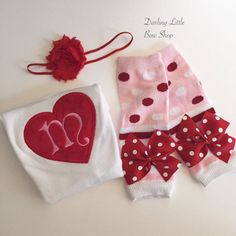 Valentine Outfit  Baby Girl  heart initial by DarlingLittleBowShop