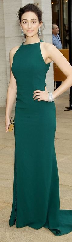 Who made Emmy Rossum's green gown and jewelry that she wore in New York on May 12, 2014?