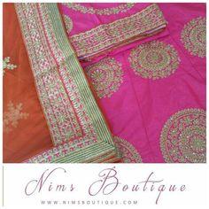 Maharani Unstitched Pink & Orange Lehnga with unstitched blouse piece