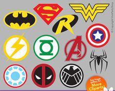 superhero clipart superhero logos super heroes by vivispartyshop