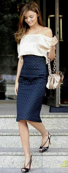 off shoulder tops with skirt | High waisted pencil skirt and off the shoulder top | The Style Diaries