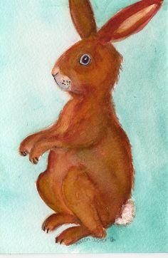 Original brown bunny rabbit  original от SharonFosterArt на Etsy