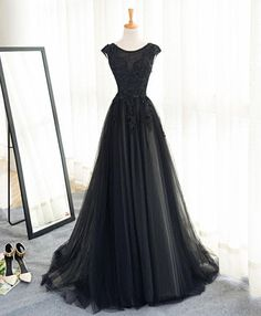 Black tulle A-line long senior prom dress, lace evening dress #promdress