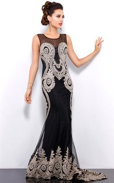 buyinvite.com.au - Silk Sleeveless Gown Black Gold