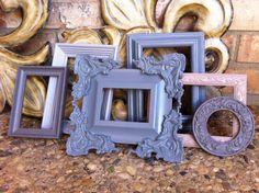 Home Decor Grey Frames Vintage Frame Set Painted by FeFiFoFun, $62.00