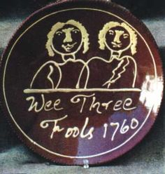 """slipware dish inscribed """"Wee Three Fools 1760"""" Original at Waddesden Manor, Bucks. -- this is a modern reproduction by Julia Smith"""