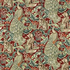 Forest Fabric - Red (222533) - William Morris & Co Archive Prints 2 Fabrics Collection