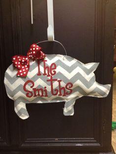 burlap razorback  door hanger by TheCraftyFoxLR on Etsy, $30.00