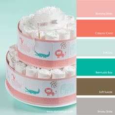 Blushing Bride, Calypso Coral, Soft Sky, Bermuda Bay, Soft Suede, Smoky Slate #stampinupcolorcombos