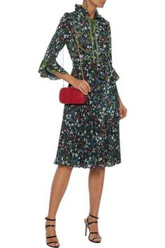 Mikael Aghal Belted Bow-detailed Pleated Floral-print Crepe Dress In Midnight Blue Navy Dress Outfits, Dresses For Sale, Dresses For Work, Denim Shop, Crepe Dress, Belts For Women, Jacket Dress, Beachwear, Luxury Fashion