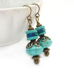 Turquoise Earrings with Mykonos Ceramic Beads