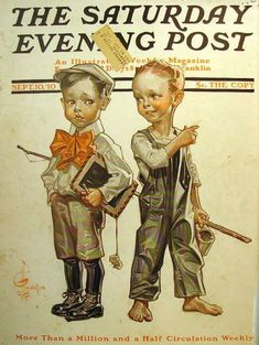 Let's play hookey, Oct. Leyendecker, The Saturday Evening Post. Old Magazines, Vintage Magazines, Vintage Ads, Vintage Soul, American Illustration, Illustration Art, Belle Epoque, Caricatures, Jc Leyendecker