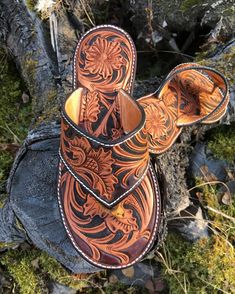 Custom Hand Tooled Leather Flip Flop/ Sandal