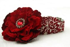 Christmas Dog Collar with Flower Accessory by BigpawCollars, $42.00